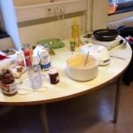 Unser Backpult auf dem wir köstliche Pancakes und Donuts vorbereiteten